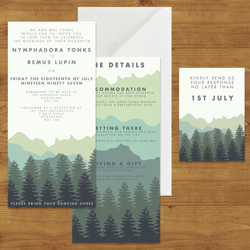 BLUE GREEN MOUNTAINS  WEDDING INVITATION SUITE