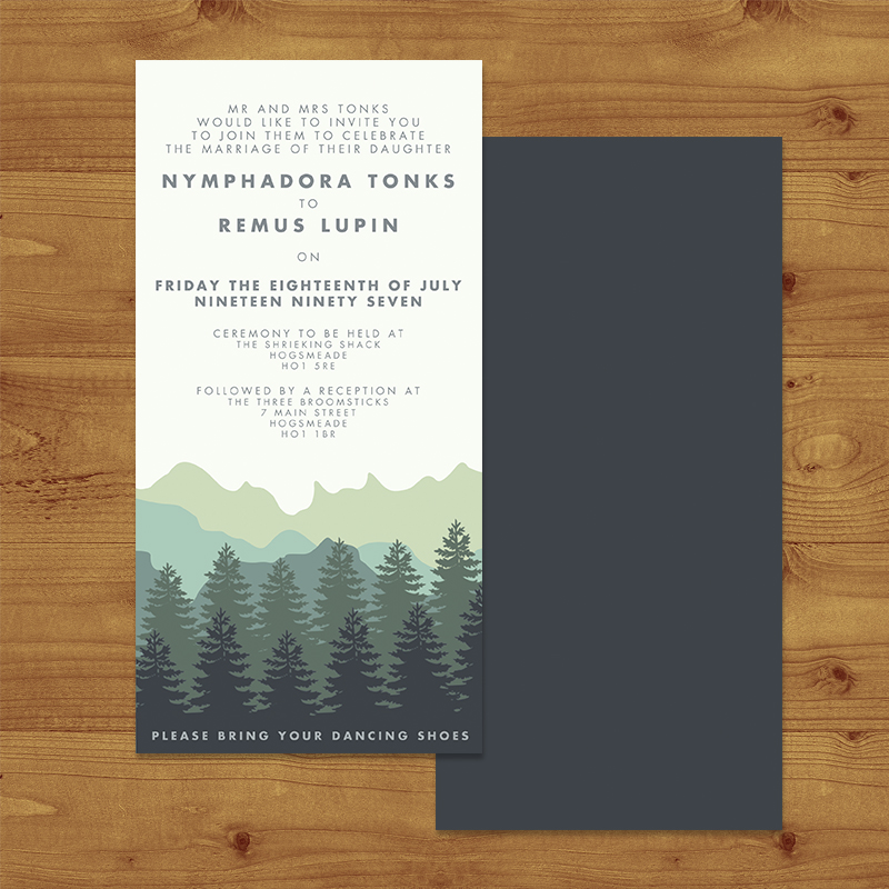 Blue Green Mountains Wedding Invitation Hawthorne and Ivory