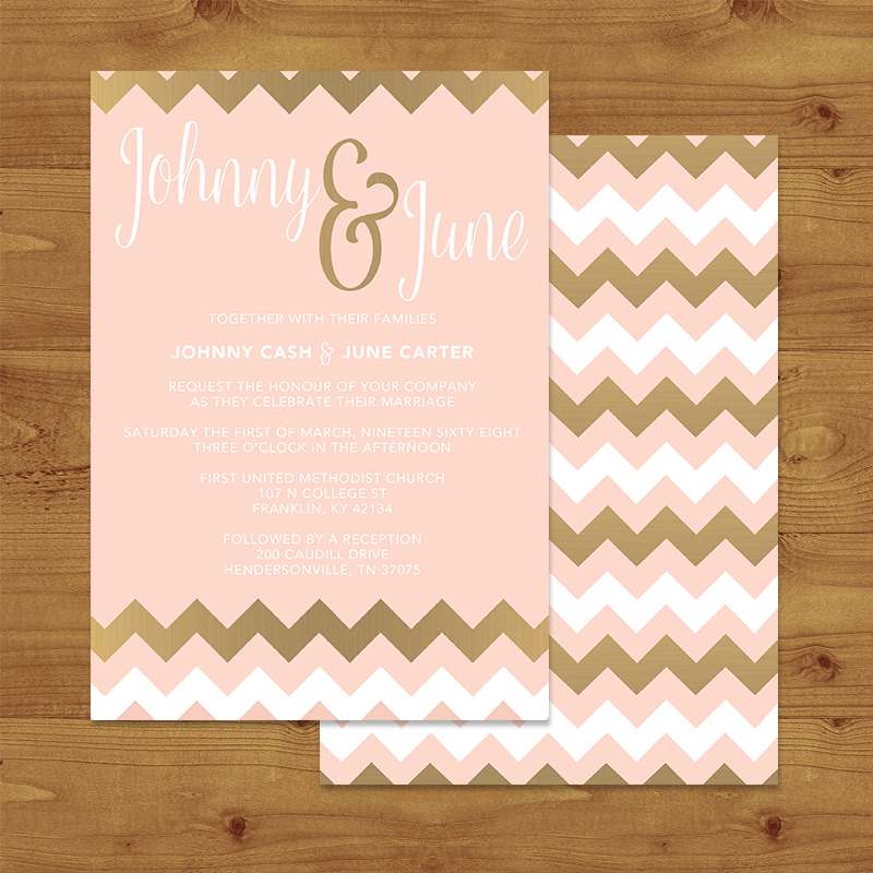 Blush and Rose Gold Chevron Wedding Invitation Hawthorne and Ivory