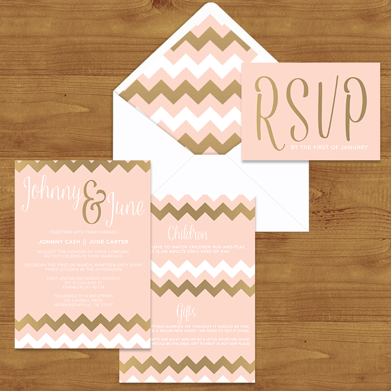 BLUSH AND ROSE GOLD  WEDDING INVITATION SUITE