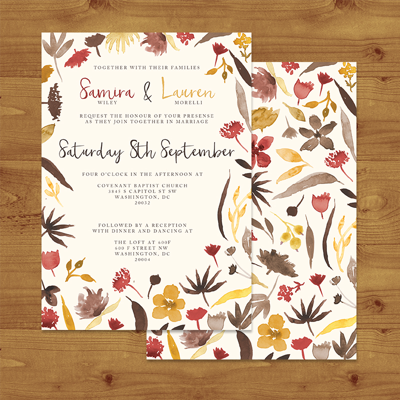 CRANBERRY AND MUSTARD Wedding Invitation Hawthorne and Ivory