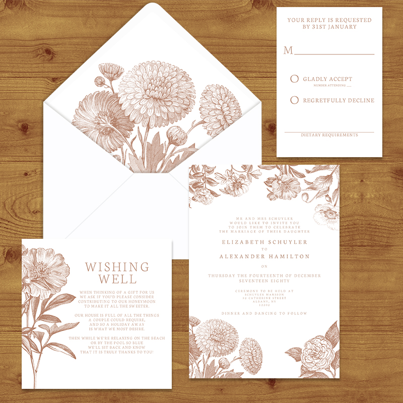 NUDE ENGRAVED  WEDDING INVITATION SUITE