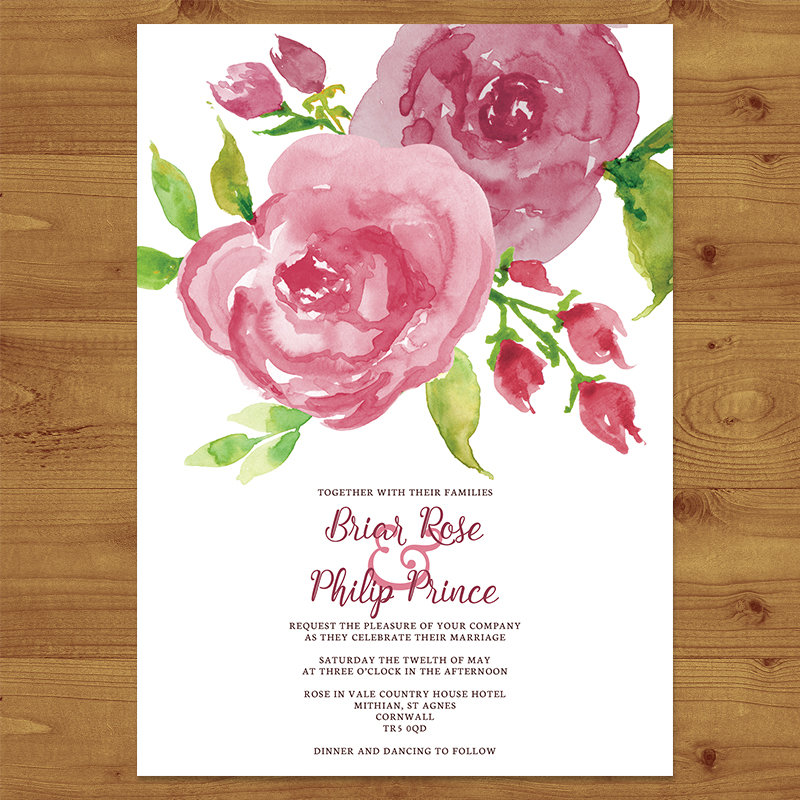 PINK ROSE Wedding Invitation Hawthorne and Ivory