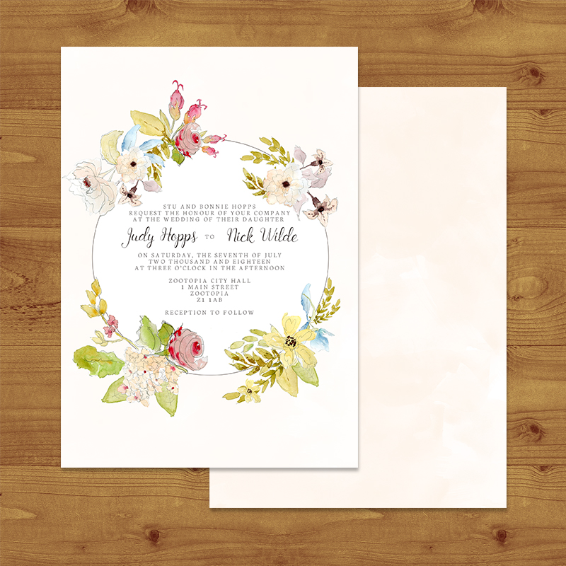 SHABBY CHIC FLORAL Wedding Invitation Hawthorne and Ivory