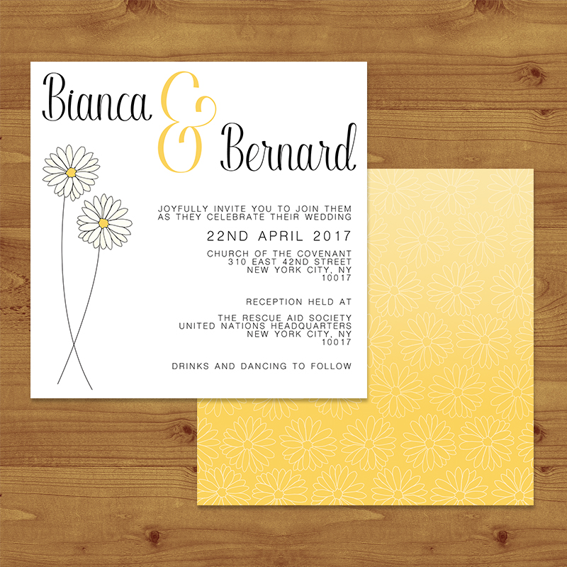 YELLOW DAISY Wedding Invitation Hawthorne and Ivory