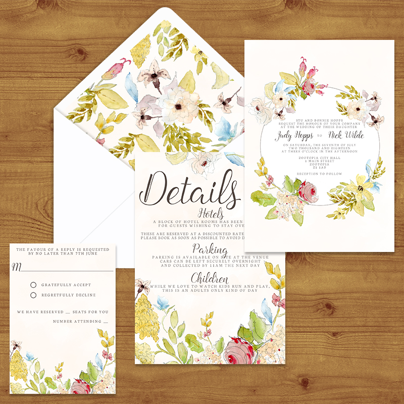 SHABBY CHIC FLORAL  WEDDING INVITATION SUITE