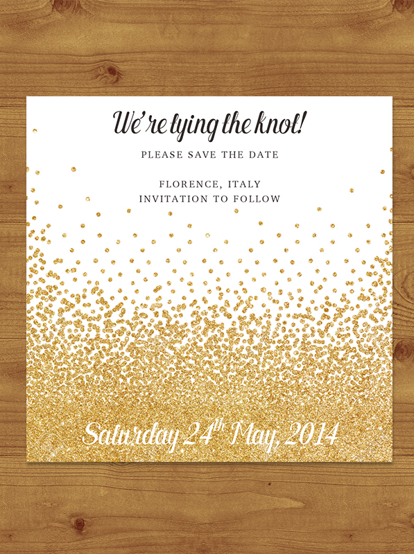 Glitter Gold Save the Date