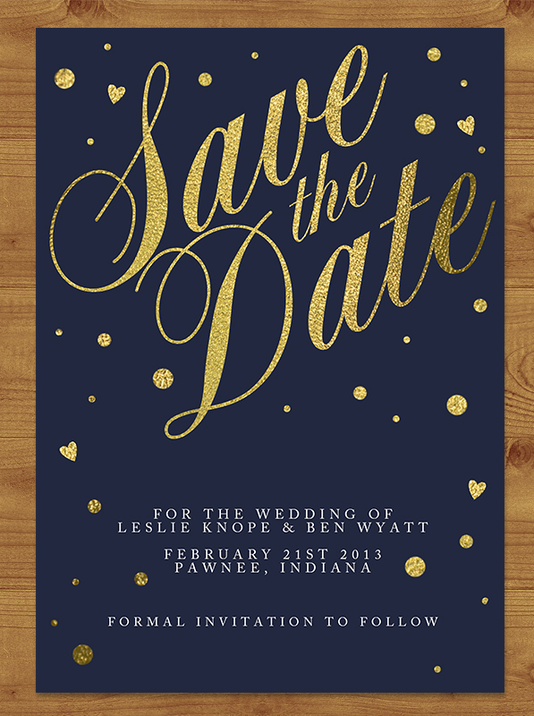 Navy and Gold Save the Date