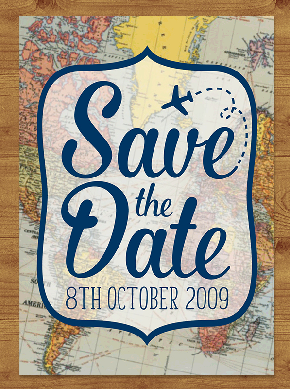 Vintage Maps Save the Date