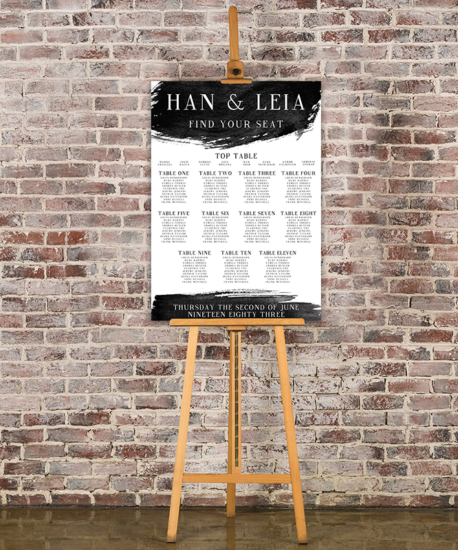Black and White Table Plan