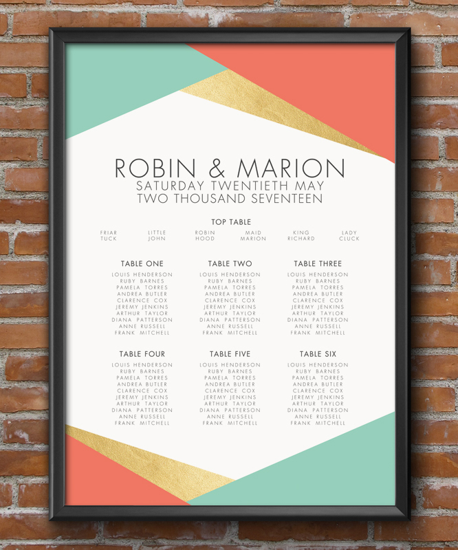 Aqua and Coral Geometric Table Plan