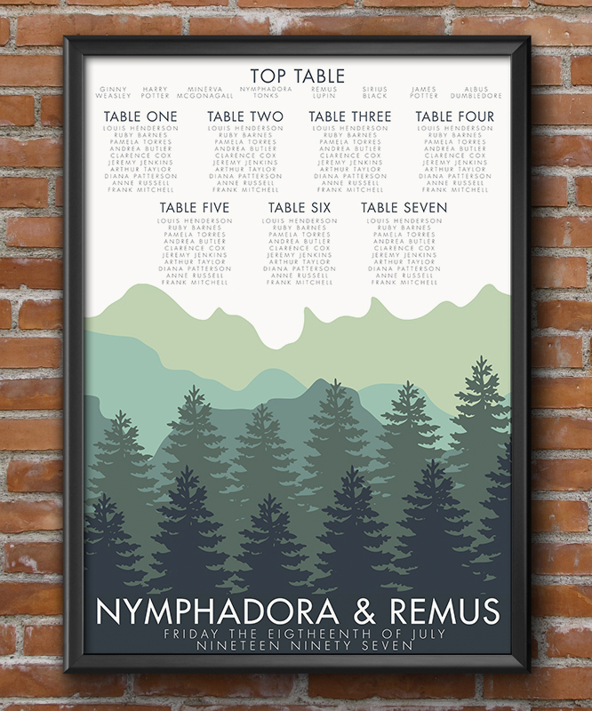 Blue Green Mountains Table Plan