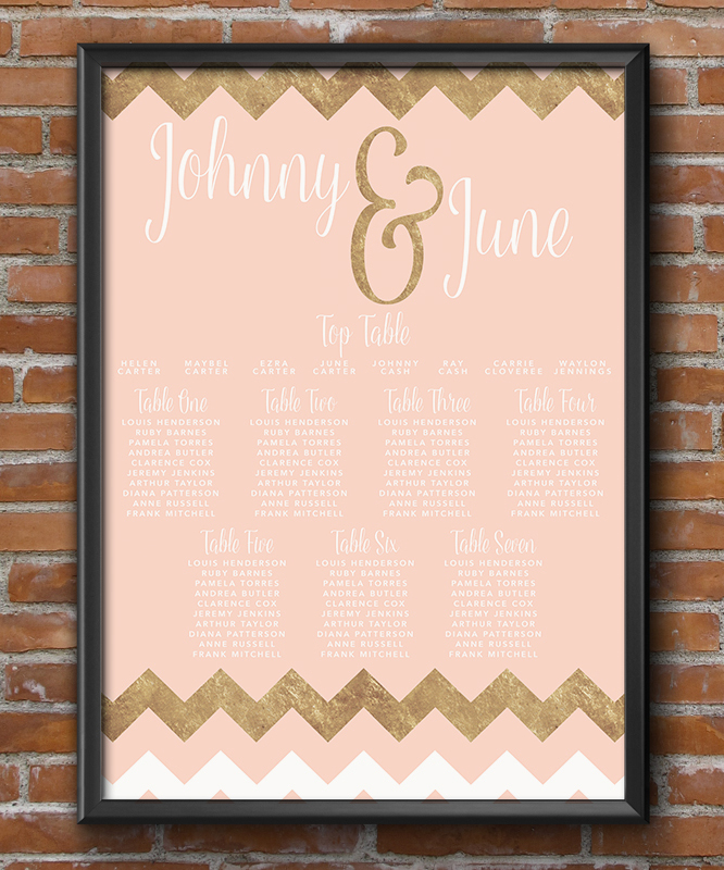 Blush and Rose Gold Table Plan