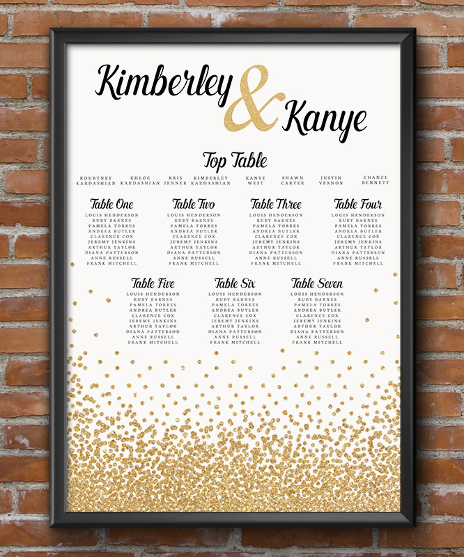 Glitter Gold Table Plan