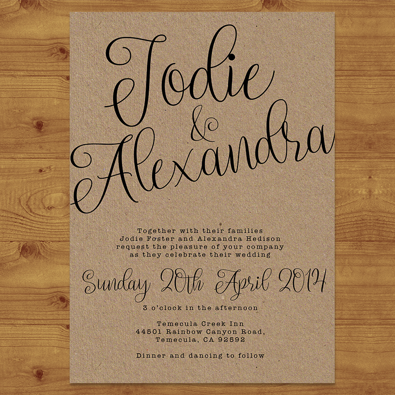 RUSTIC KRAFT Wedding Invitation Hawthorne and Ivory
