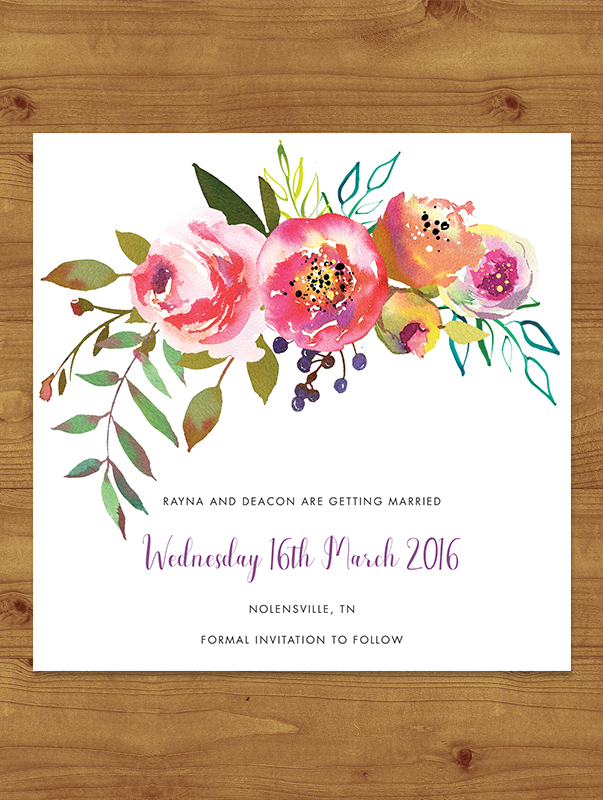 Bright Floral Save the Date