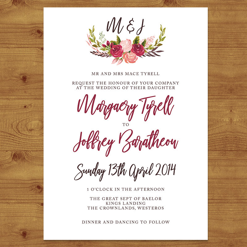 RUSTIC ROSE Wedding Invitation Hawthorne and Ivory