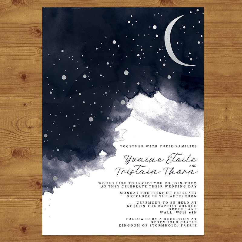 STARRY NIGHT Wedding Invitation Hawthorne and Ivory