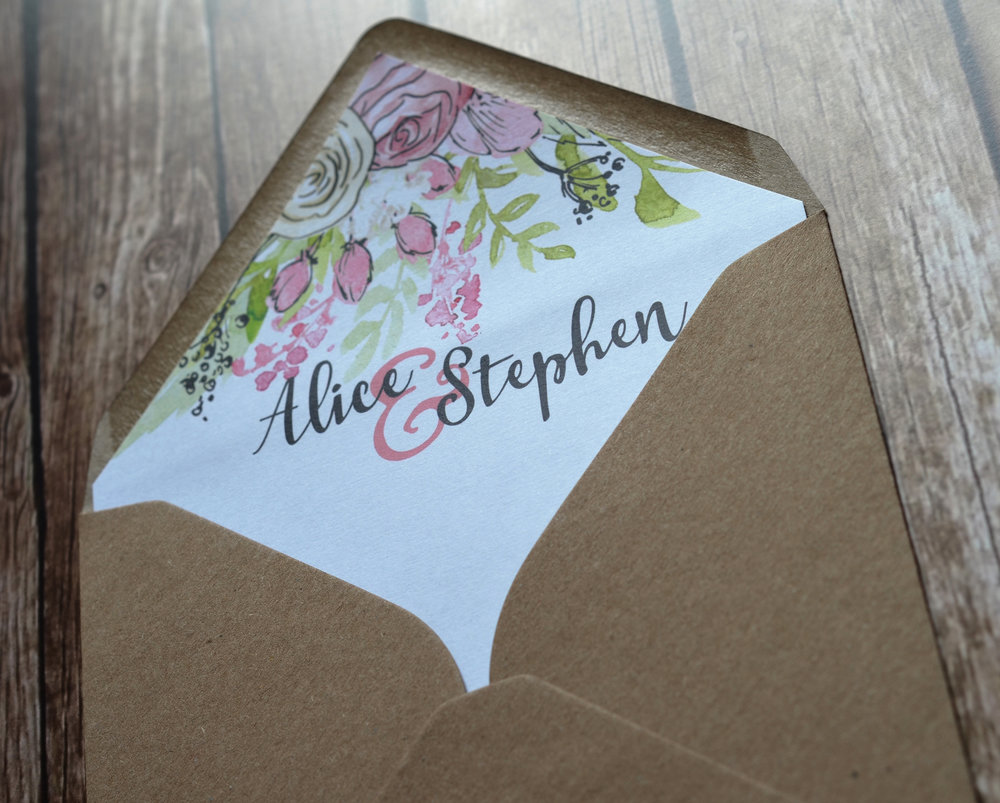 bespoke wedding stationery design tipi kraft envelope liner