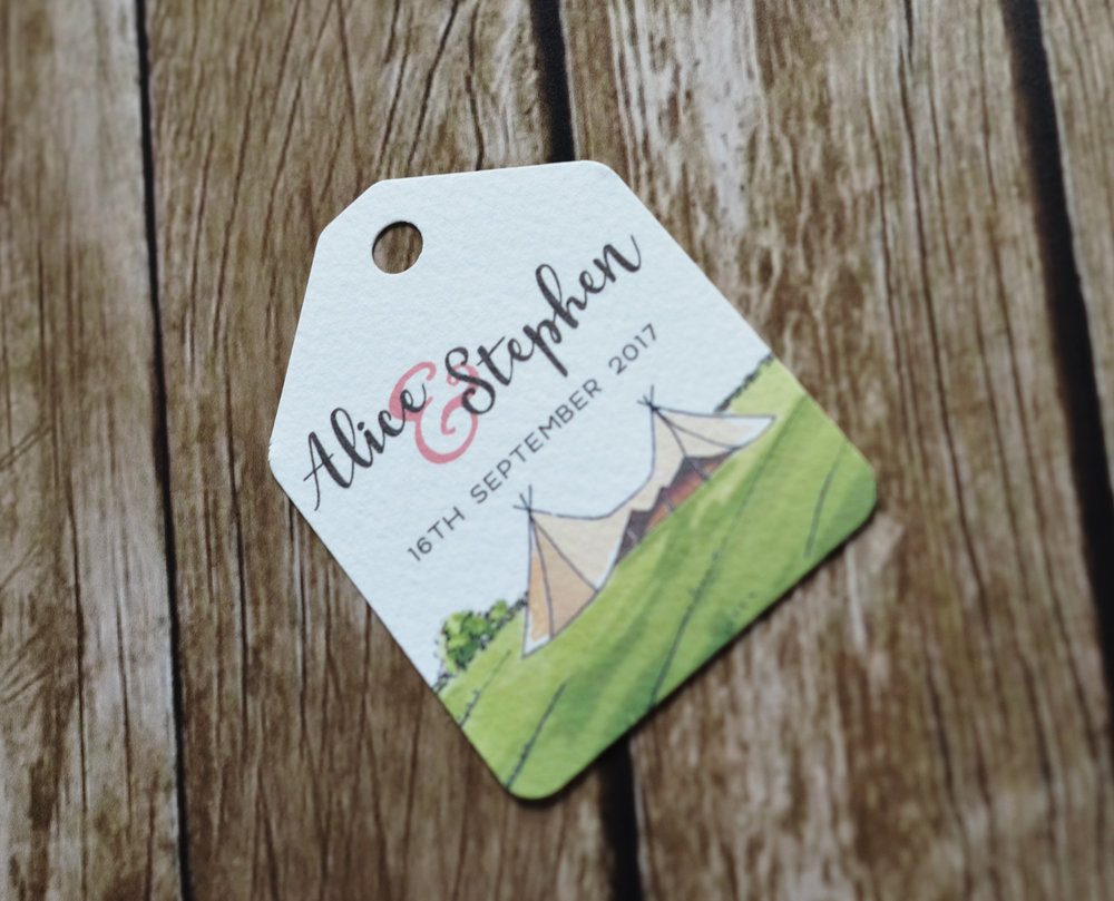 bespoke wedding stationery design tipi