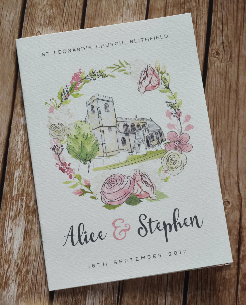 bespoke wedding stationery design tipi order of service