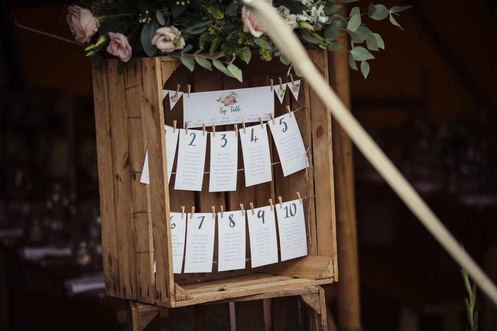 bespoke wedding stationery design tipi table plan rustic vintage crate