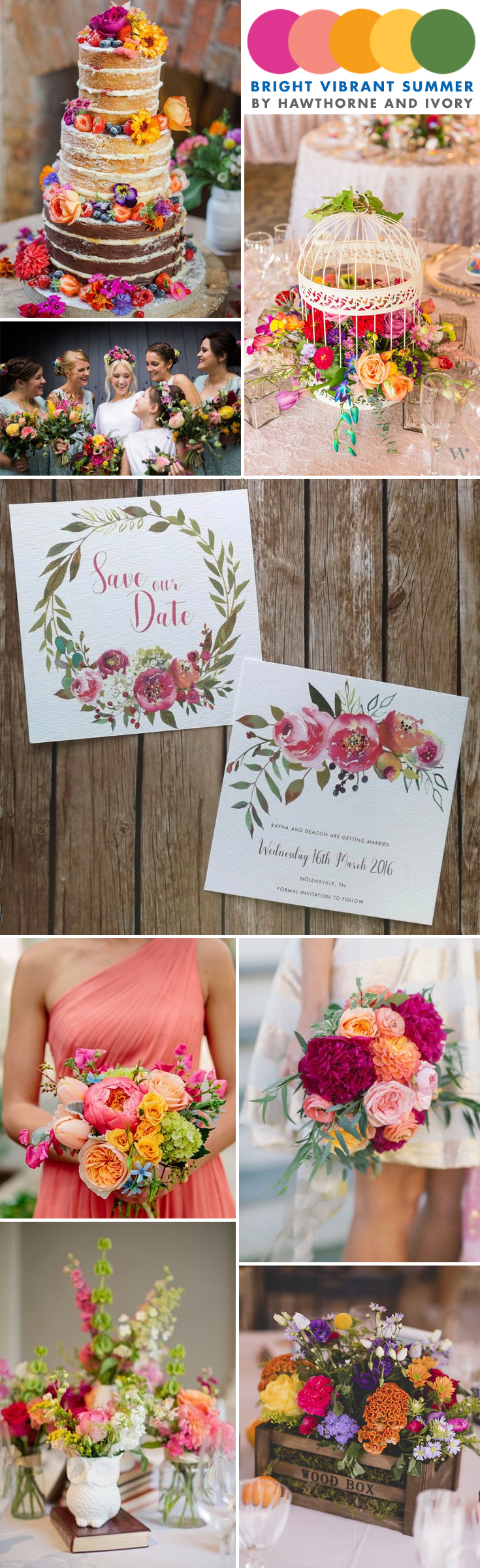 bright summer floral wedding moodboard hawthorne and ivory