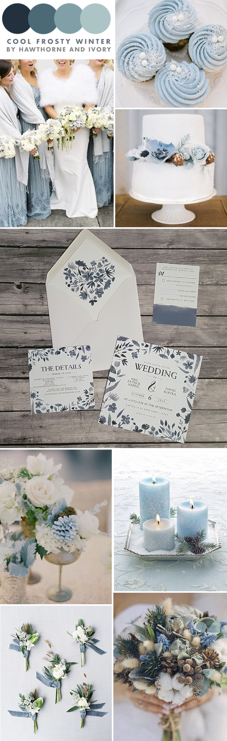 cool frosty winter blue wedding moodboard hawthorne and ivory