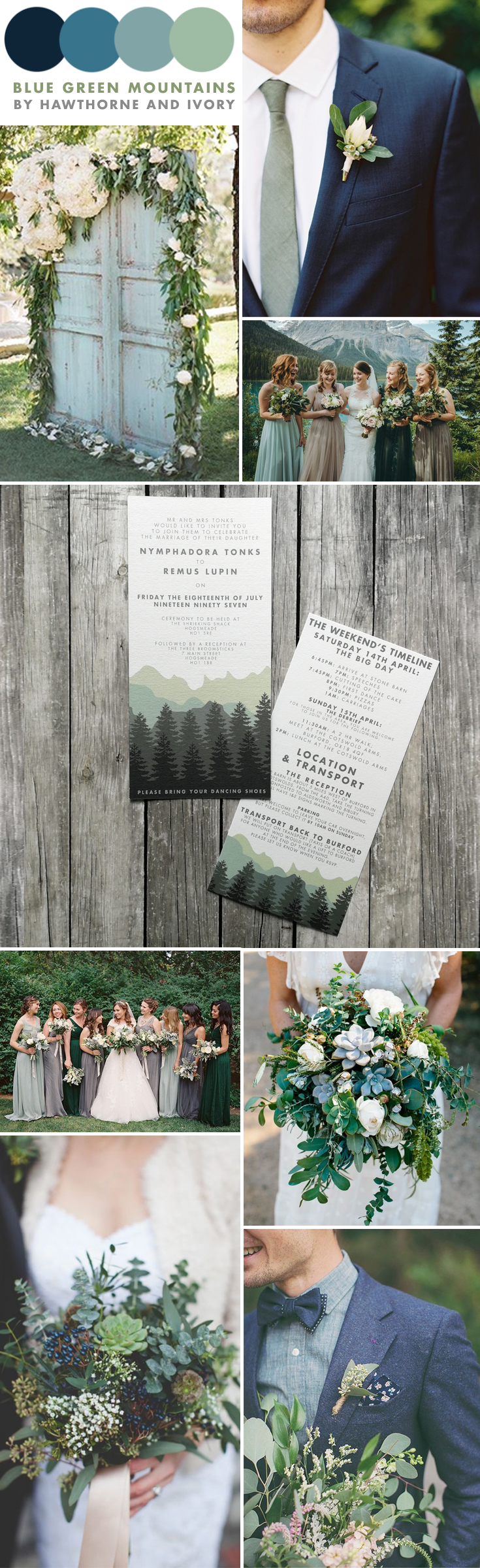 blue green mountain outdoor wedding moodboard hawthorne and ivory