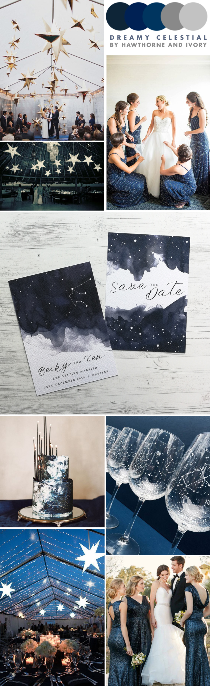 starry night celestial wedding moodboard hawthorne and ivory