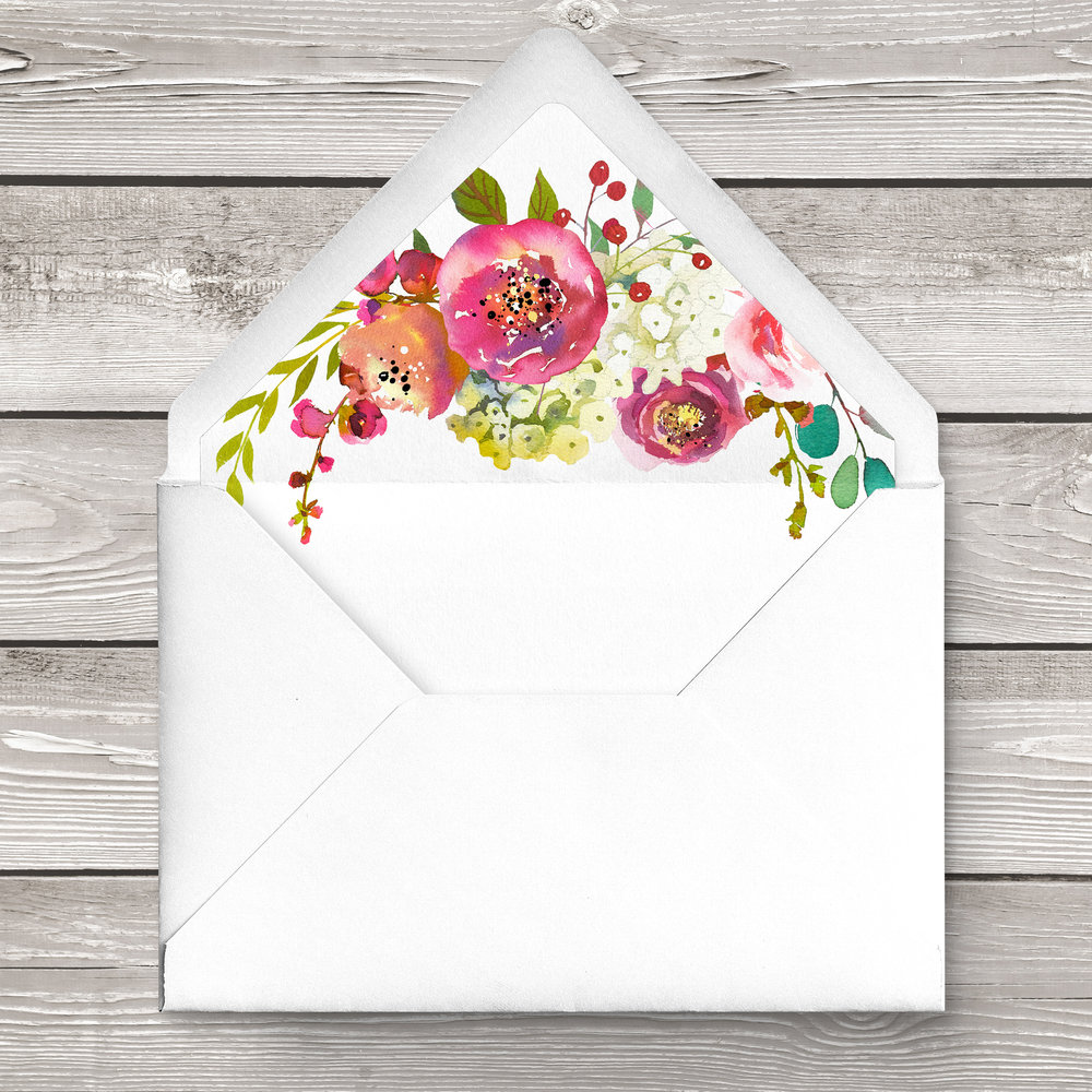 Bright Summer Floral Envelope Liner - colourful pink watercolour flowers wedding stationery suite uk - Hawthorne and Ivory