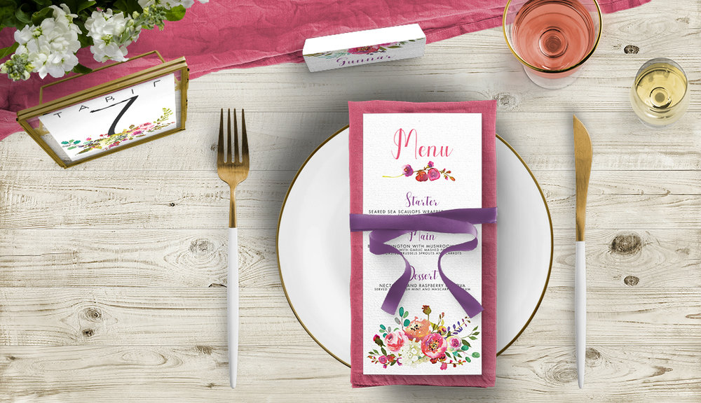 Bright Summer Floral Tablescape - colourful pink watercolour flowers wedding stationery place setting menu card table number uk - Hawthorne and Ivory