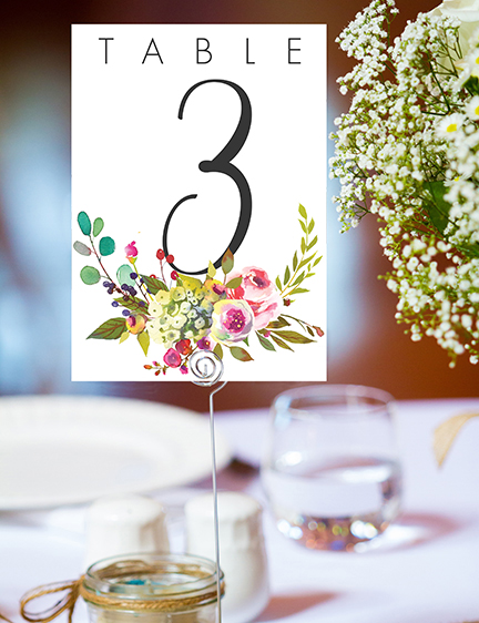 Bright Summer Floral Table Number - colourful pink watercolour flowers wedding stationery suite uk - Hawthorne and Ivory