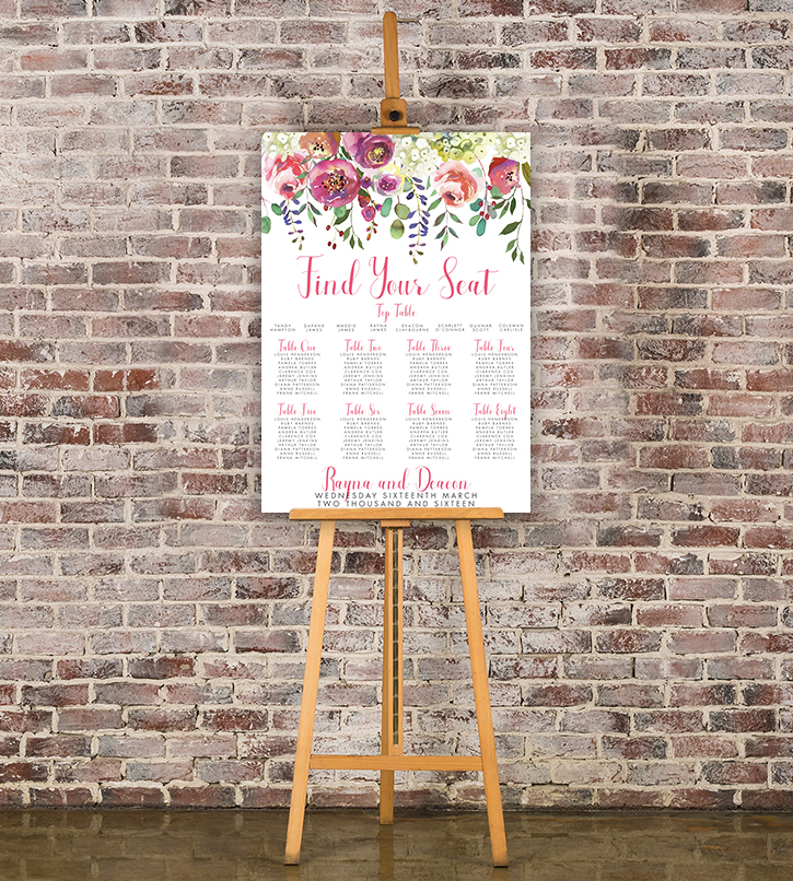 Bright Summer Floral Table Plan - colourful pink watercolour flowers wedding stationery seating chart uk - Hawthorne and Ivory