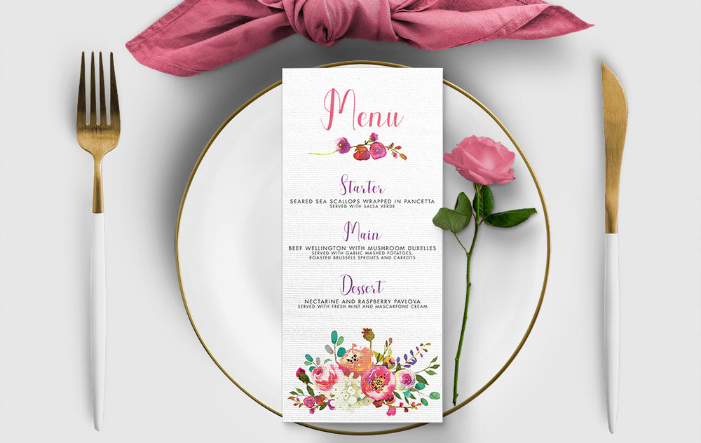 Bright Summer Floral Menu - colourful pink watercolour flowers wedding stationery suite uk - Hawthorne and Ivory