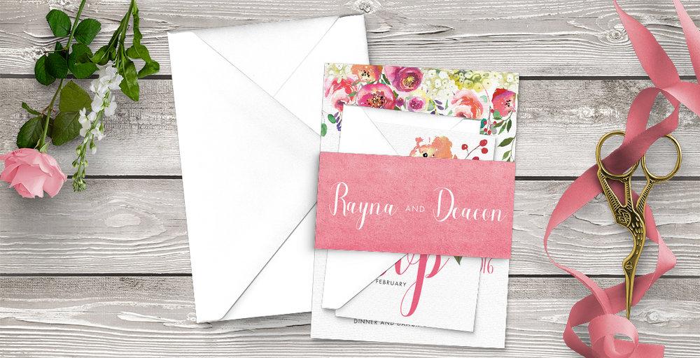 Bright Summer Floral Wedding Invitation Suite