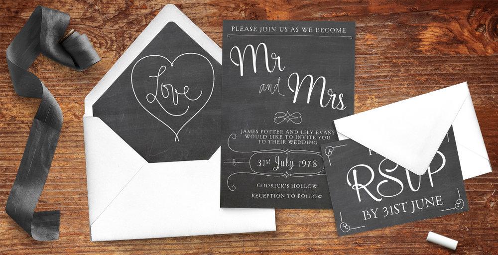 Chalkboard Wedding Invitation Suite