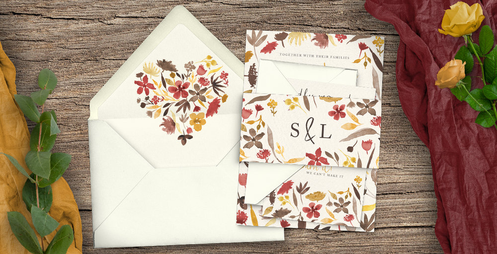 Cranberry and Mustard Wedding Invitation Suite