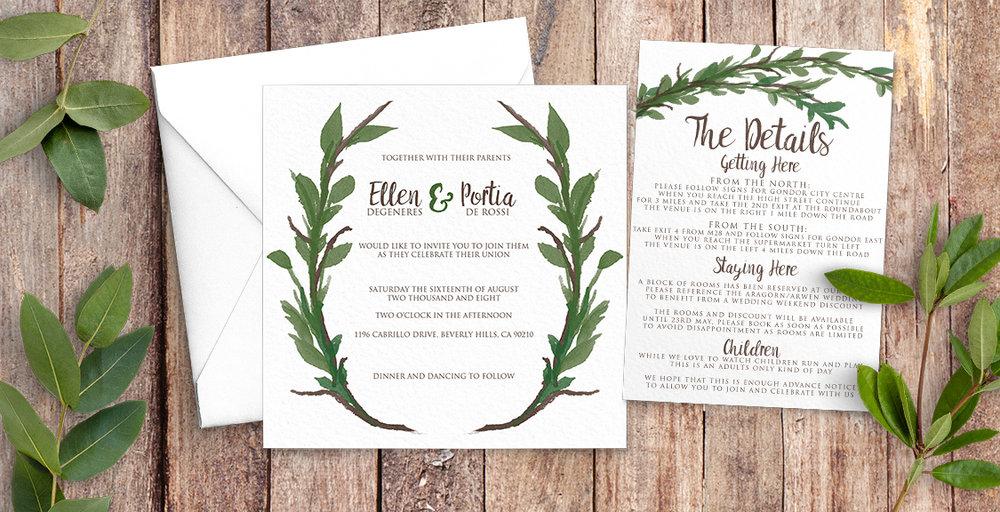 Leafy Botanical Wedding Invitation Suite