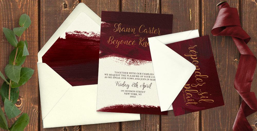 Marsala Wine Wedding Invitation Suite
