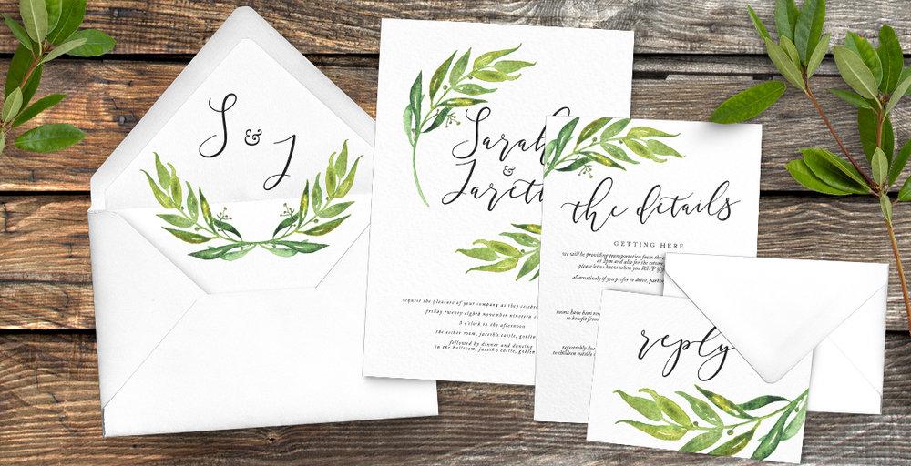Olive Branch Wedding Invitation Suite