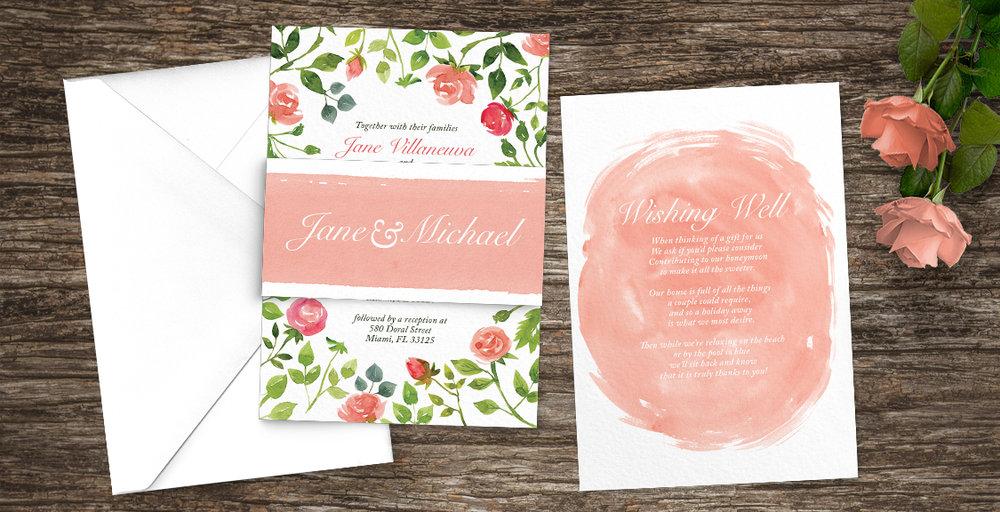 Rose Bush Wedding Invitation Suite