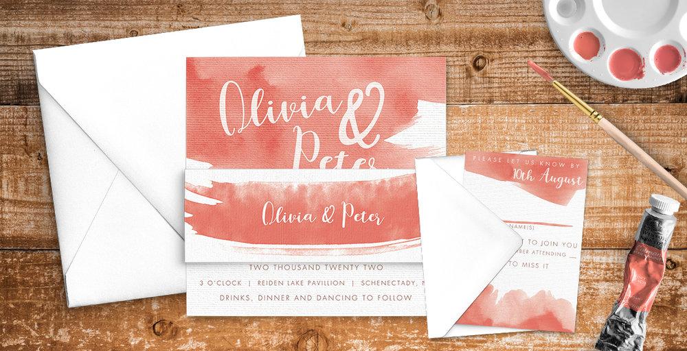 Soft Peach Wedding Invitation Suite