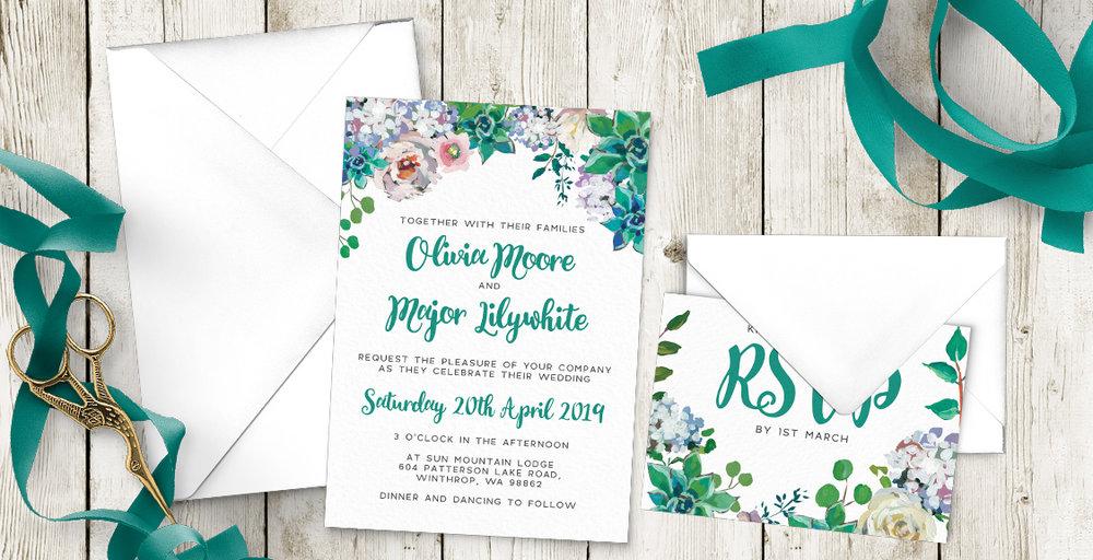 Succulent Rose Wedding Invitation Suite