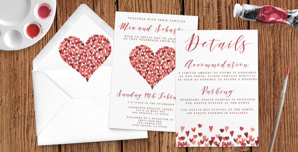 Valentine Hearts Wedding Invitation Suite