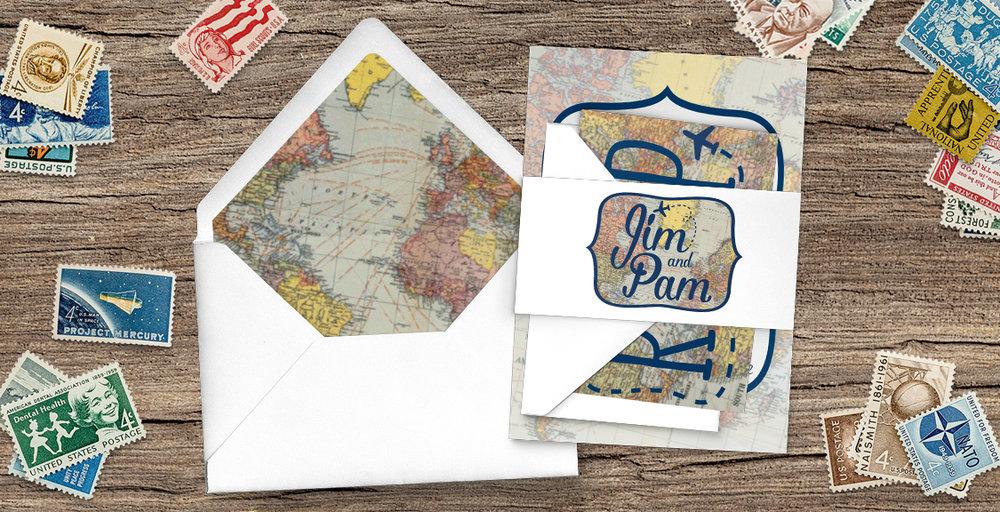 Vintage Maps Wedding Invitation Suite