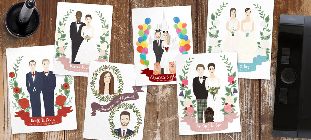 Custom illustrated wedding portraits