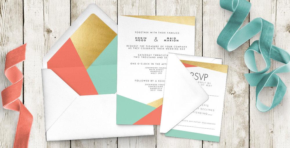 aqua and coral geometry wedding invitations