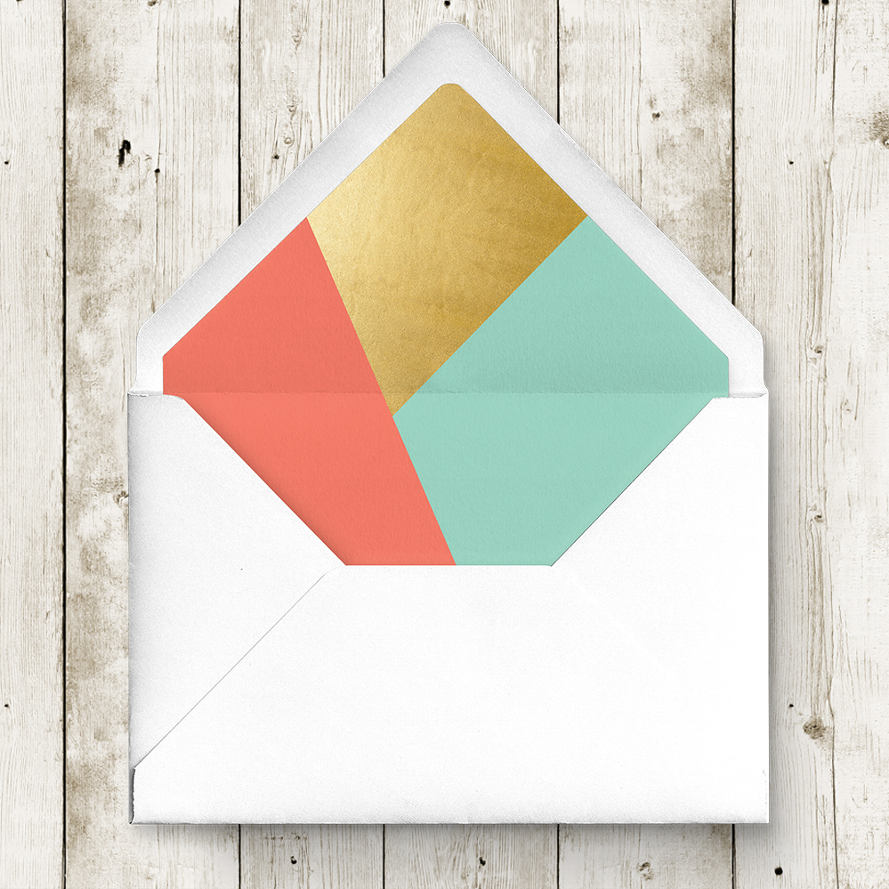 Aqua and Coral Geometry Envelope Liner - bold geometric wedding stationery suite UK - Hawthorne and Ivory