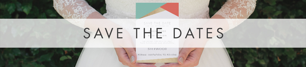 Aqua and Coral Geometry Save The Dates - bold geometric wedding stationery suite UK - Hawthorne and Ivory